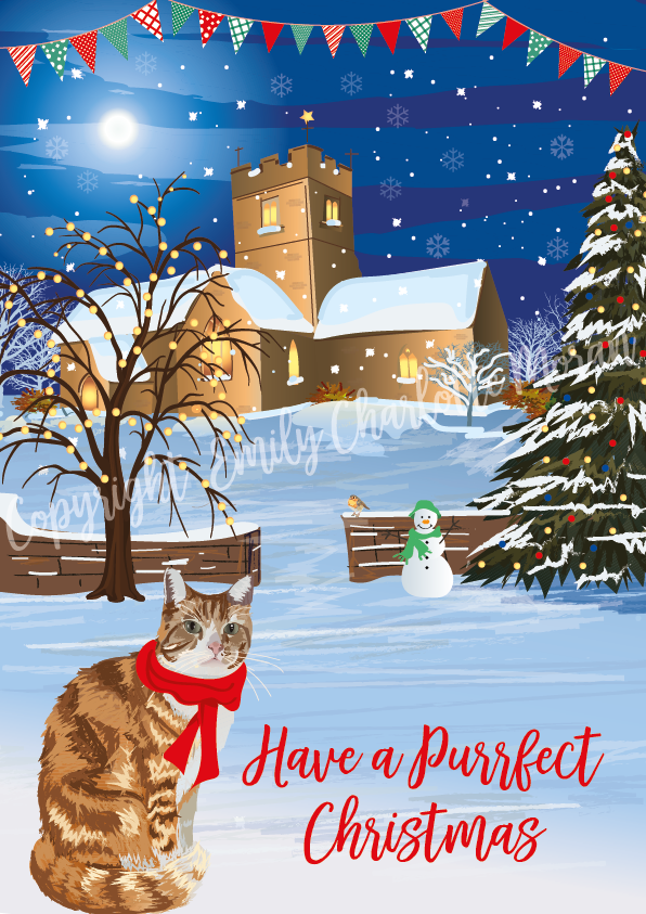 Ginger Cat Christmas Card