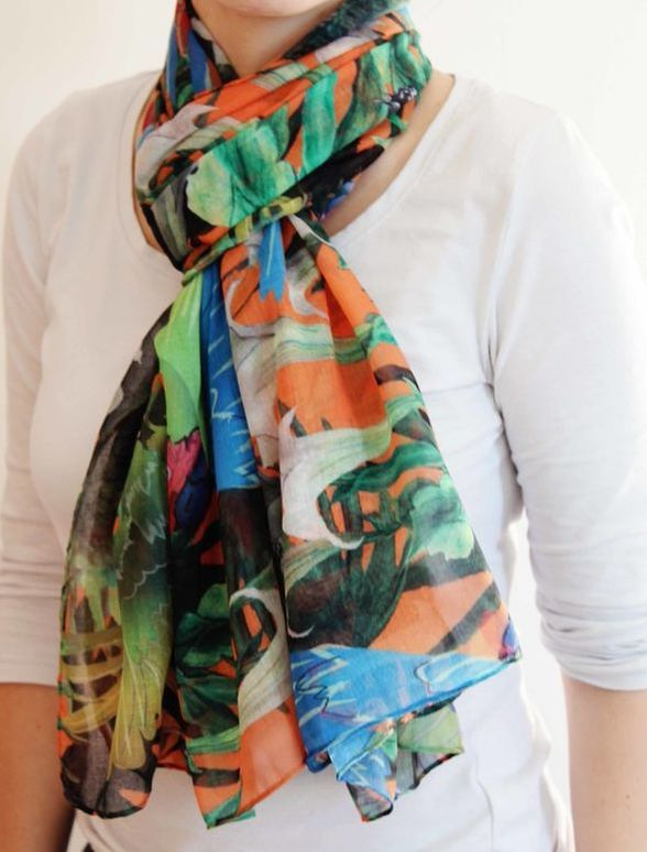 Green Macaw Scarf, Parrot Scarf